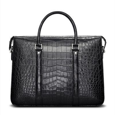 Mens Fashion Crocodile Bag-Black-Front