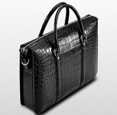 Mens Fashion Crocodile Bag-Black-Left