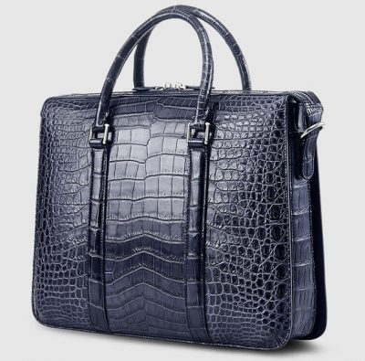 Mens Fashion Crocodile Bag-Blue-Back