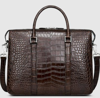 Mens Fashion Crocodile Bag-Brown-Front