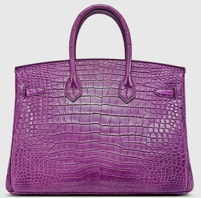 Purple Genuine Crocodile Skin Handbag-Back