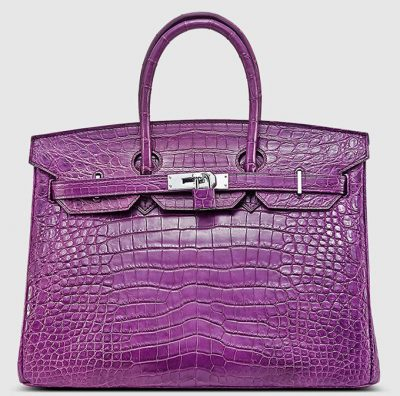 Purple Genuine Crocodile Skin Handbag-Front