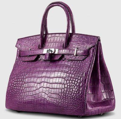 Purple Genuine Crocodile Skin Handbag-Side