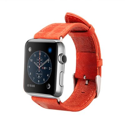 Red Leather Apple Watch Band 38mm 42mm