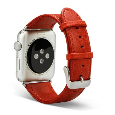 Red Leather Apple Watch Bands Back