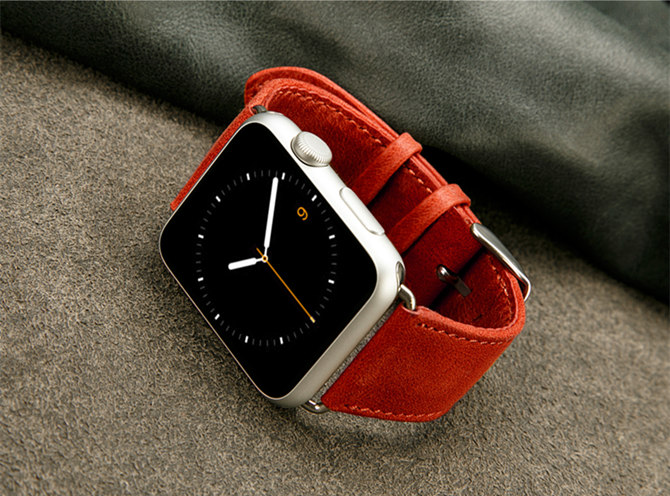 Red Leather Apple Watch Band For Women