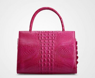 Rose Red Elegant Genuine Crocodile Handbag-Back