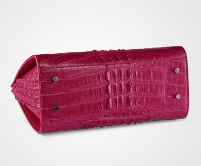 Rose Red Elegant Genuine Crocodile Handbag-Bottom