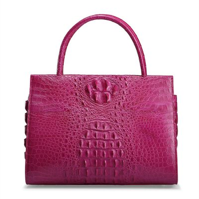 Rose Red Elegant Genuine Crocodile Handbag-Front