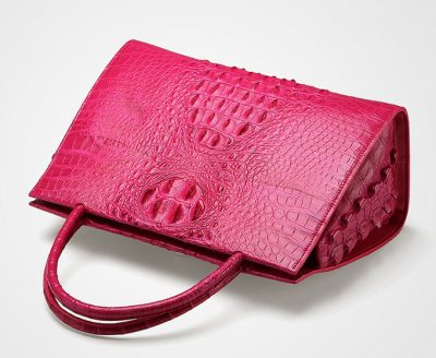 Rose Red Elegant Genuine Crocodile Handbag-Top