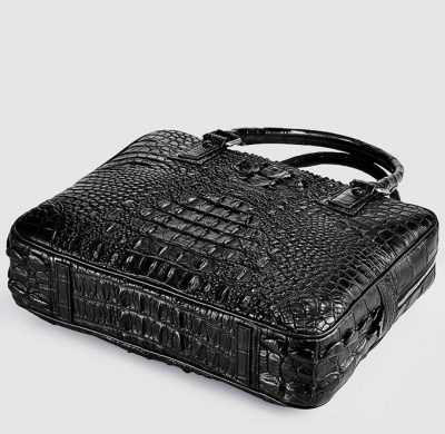 Small Black Genuine Crocodile Briefcase Bag-Bottom