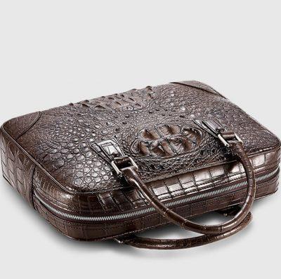 Small Brown Genuine Crocodile Briefcase Bag-Details