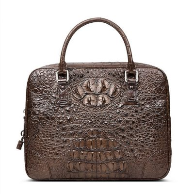 Small Brown Genuine Crocodile Briefcase Bag-Front