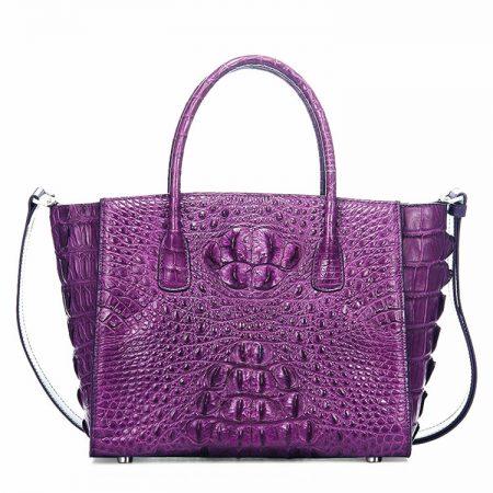 Stylish Crocodile Crocodile Handbag, Crocodile Shoulder Bag-Purple