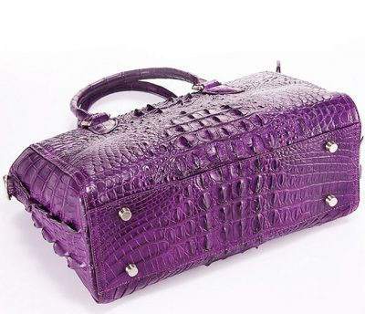 Stylish Crocodile Crocodile Handbag, Crocodile Shoulder Bag-Purple-Bottom
