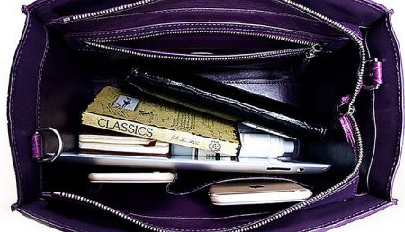 Stylish Crocodile Crocodile Handbag, Crocodile Shoulder Bag-Purple-Inside