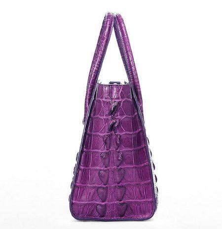 Stylish Crocodile Crocodile Handbag, Crocodile Shoulder Bag-Purple-Side