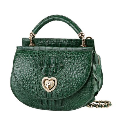 Stylish Crocodile Evening Handbag-Green