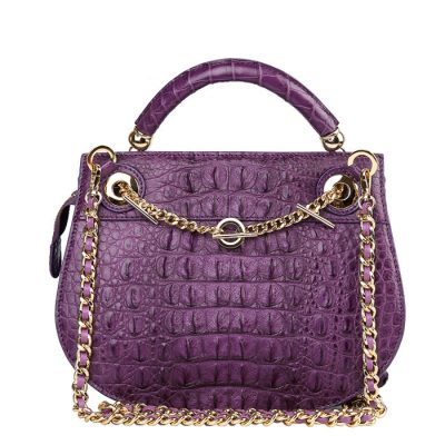 Stylish Crocodile Evening Handbag-Purple-Back