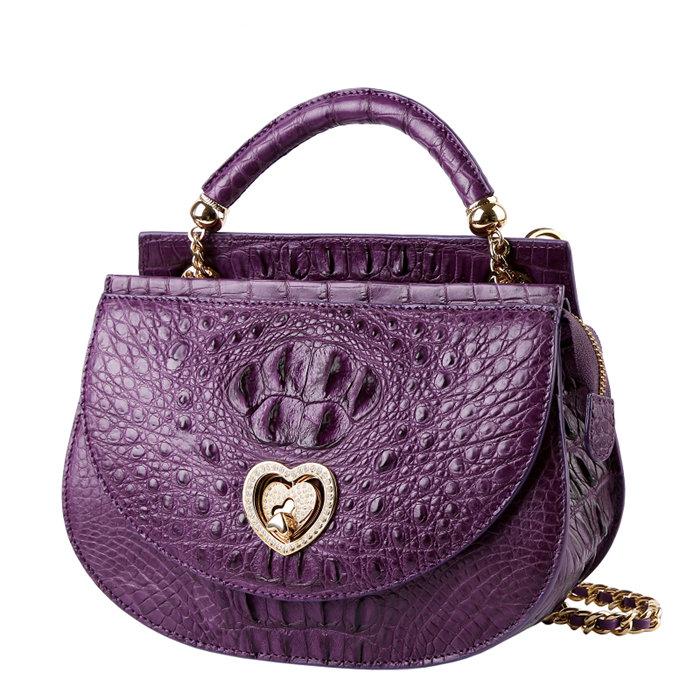 Stylish Crocodile Evening Handbag Purple