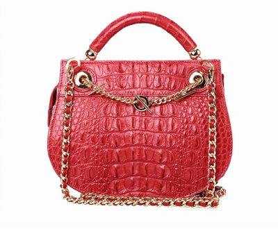 Stylish Crocodile Evening Handbag-Red-Back