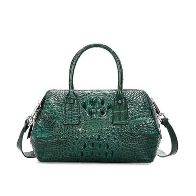 Stylish Crocodile Skin Barrel Bag Green-Front