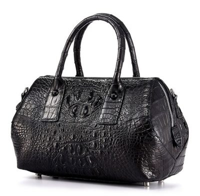 Stylish Crocodile Skin Barrel Bag-Left
