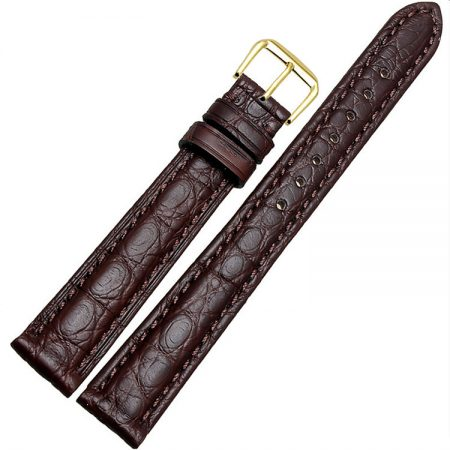 Womens Genuine Alligator Leather Watch Band-Brown