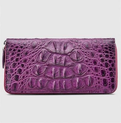 Womes Genuine Crocodile Long Wallet, Crocodile Purse-Bottom-1