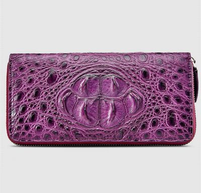 Womes Genuine Crocodile Long Wallet, Crocodile Purse-Front