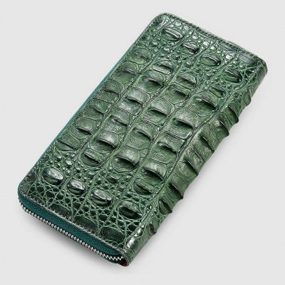 Womes Genuine Crocodile Long Wallet, Crocodile Purse-Green-Back