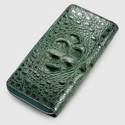Womes Genuine Crocodile Long Wallet, Crocodile Purse-Green-Front