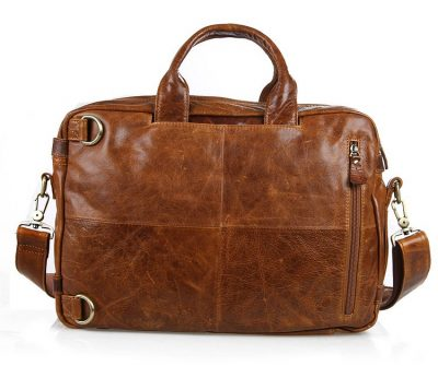 Brown Leather Briefcase Leather Backpack-Back