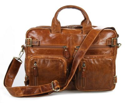 Brown Leather Briefcase Leather Backpack-Front