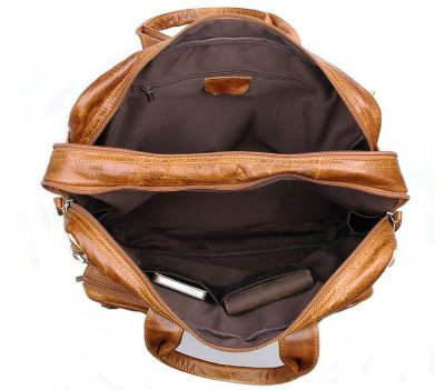 Brown Leather Briefcase Leather Backpack-Inside
