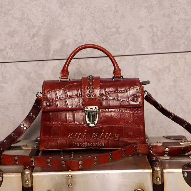 Carrina Croc Embossed Leather Handbag-Brown