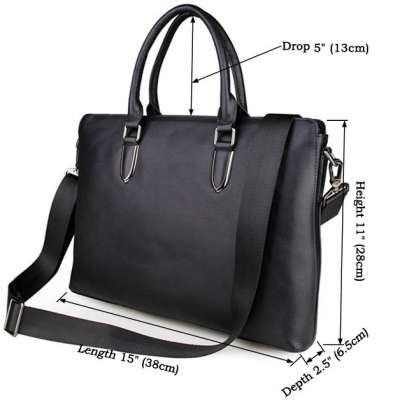 Casual Leather Briefcase, Leather Business Bag-Size