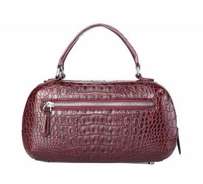 Classic Crocodile Top-Handle Handbag-Wine Red-Back