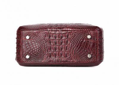 Classic Crocodile Top-Handle Handbag-Wine Red-Bottom