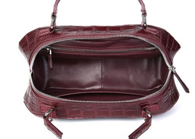 Classic Crocodile Top-Handle Handbag-Wine Red-Inside
