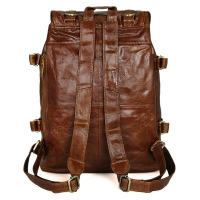 Classic Leather Briefcase Travel Backpack For Men-Back