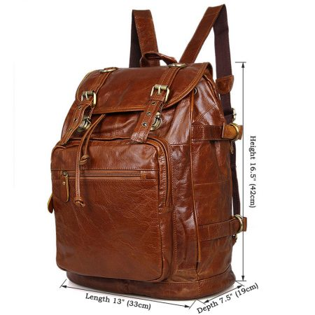 Classic Leather Briefcase Travel Backpack For Men-Size