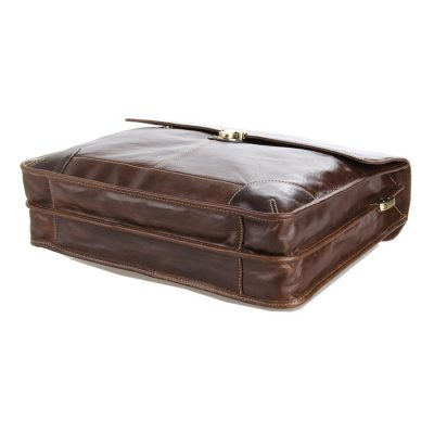 Classic Vintage Leather Briefcase Laptop Bag Messenger Bag-Bottom