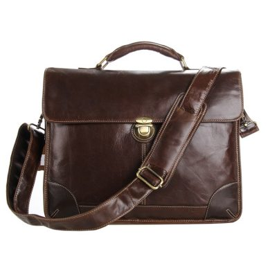 Classic Vintage Leather Briefcase Laptop Bag Messenger Bag-Front