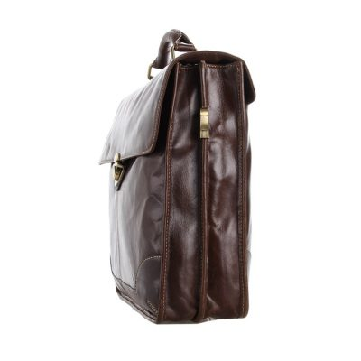 Classic Vintage Leather Briefcase Laptop Bag Messenger Bag-Side