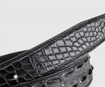Elegant, Stylish Genuine Crocodile Belt-Black-2
