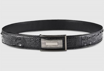 Elegant, Stylish Genuine Crocodile Belt-Black-Lay
