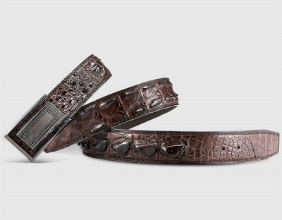 Elegant, Stylish Genuine Crocodile Belt-Brown-1