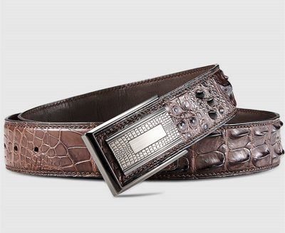 Elegant, Stylish Genuine Crocodile Belt-Brown-Buckle