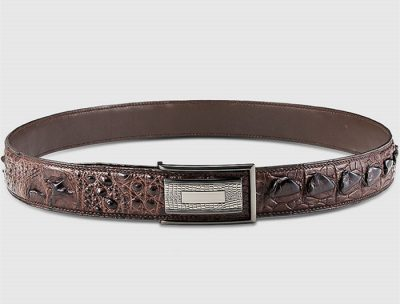 Elegant, Stylish Genuine Crocodile Belt-Brown-Lay